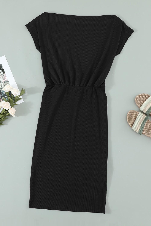 elegantes strickmidi-kleid mit geradem schnitt und