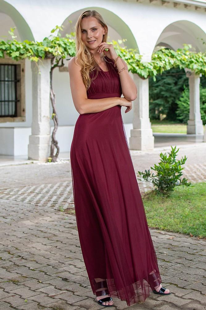 Kleid bordeaux lang rot Kleid Lang