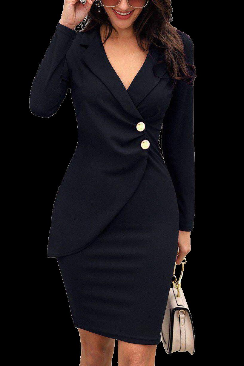 elegantes kleid mit 'v'-ausschnitt,in wickeloptik und